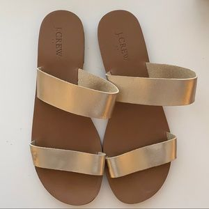 J.Crew Gold Metallic Slide Sandals 9